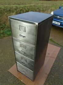 Industrial / Vintage Filing Cabinet Stripped & Polished Steam Punk Look Delivery Can Be Arranged.