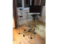 Glass desk and chair