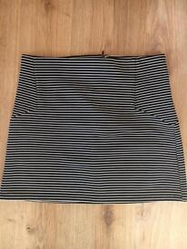 Black and white striped skirt size 10