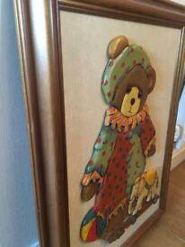 Wooden framed picture for child's play room
