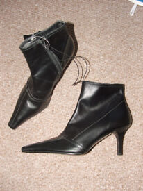 Black Leather Ankle Boots – Size 3 – Brand new with tags (cost £25)