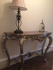 Beautiful, marble topped, silvered Hall Table