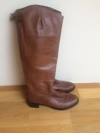 DUNE Leather Boots Size 6 TAN knee high, flats