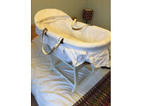 Emile et Rose Moses Basket (White) and rocking stand