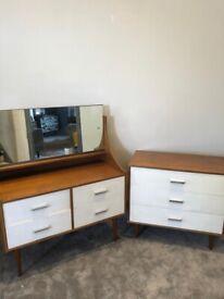 Mid century modern retro white & teak chest & dressing table.