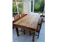 Large Dark Wood (Sheesham) Family Dining Table plus 4 chairs