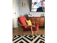 Hans J Wegner style plank chair. Mid century retro 60's