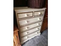 Shabby chic chest of pine drawers