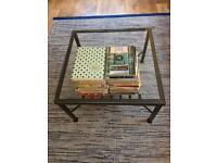 Glass dining table, glass coffee table and 4 rotin chairs