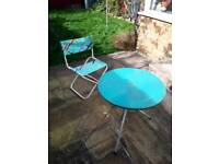 Folding Chair and Round metal Table
