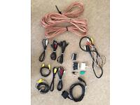 Bag of mixed cables, leads, connectors and speaker wire.