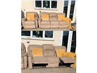 Dfs 100% Genuine Leather Recliner Sofa Set