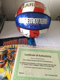 MULTI SIGNED HARLEM GLOBE TROTTERS BASKETBALL FROM WORLD TOUR 2008 WITH CERTIFICATE AUTHENTICITY £45