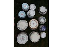 Vintage Shabby-Chic plates assorted sizes wedding catering