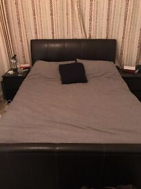 luxury king size bed, brown leather with mattress (PRICE NEGOTIABLE)