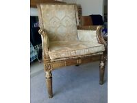 Large Gold chair shabby chic french Louis style upcycled