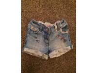 Next Denim shorts age 9-12 months
