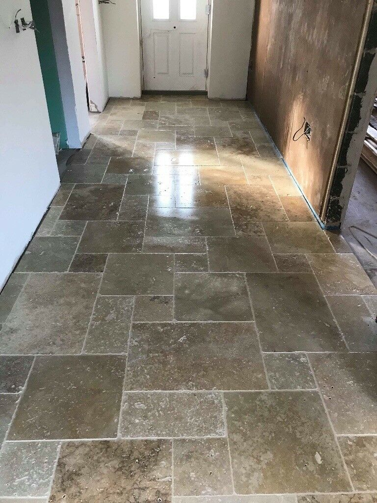 Country Mix Travertine Floor Tiles In Opus Pattern In Coalville