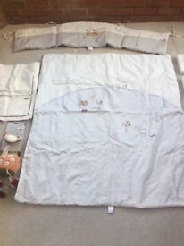 Cot bumper, quilt, cot tidy and 3 picture frames