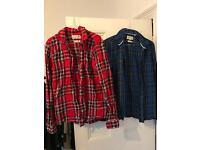 2 x Plaid Jack Wills cotton shirts (L)