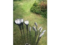 Set of golf clubs 7 irons 3 woods 1 putter 1 wedge