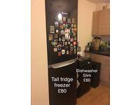 Fridge freezer and slim dishwasher £80each ono