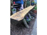 Wizard crafted hand made Poplar treated wood with teak oil out door benches. Garden ,