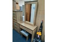 NEW Dressing Table Set with Mirror available in Medium Oak Effect.