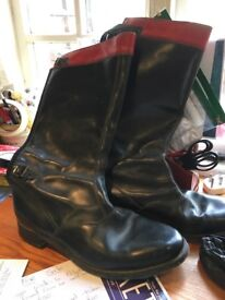 Traditional leather motor cycle boots