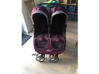 Double pram baby jogger city mini in purple good condition