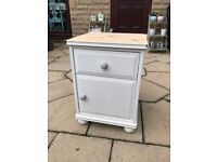 Solid pine bedside table shabby chic annie aloan paint off white with grey knobs bun feet