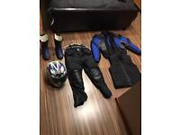 Motor bike suit and helmet