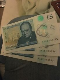 3 New AA £5 notes