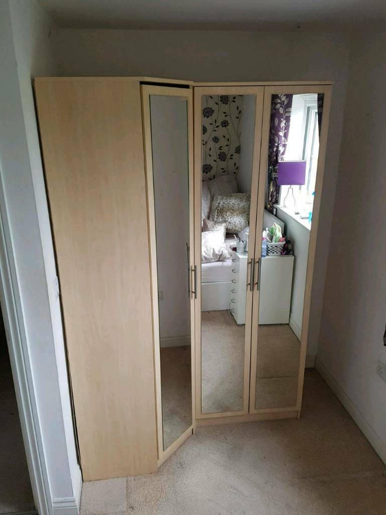 Matching beech effect mirrored double and corner wardrobes​
