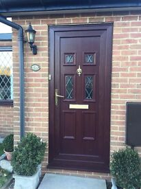 Rosewood on White UPVC Door