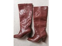 Tan leather knee high boots size 7