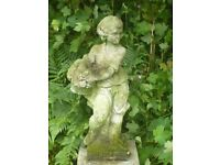 Antique Boy Garden Statue With Basket on Right Arm 73cm Tall Well Weathered