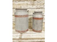 Set of 2 Garden Galvanised Milk Churn Jug