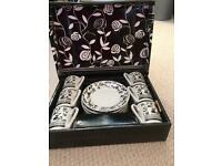 Boxed black and white espresso coffee set