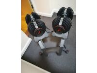 Bowflex Adjustable Dumbbells Pair 5 - 52.5lb Each & Bowflex Stand (dumbell, powerblock, bodymax)