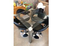 90cm x 90cm Glass Dining Table and 4 swivel chairs