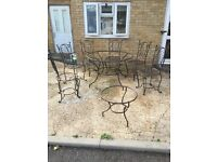 Garden tables and chairs steel