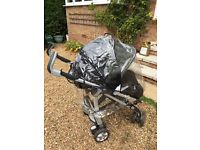 Pushchair and car seat, Silver Cross with accessories