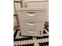 Ikea Erik white metal lockable desk drawer unit with 3 drawers on castors