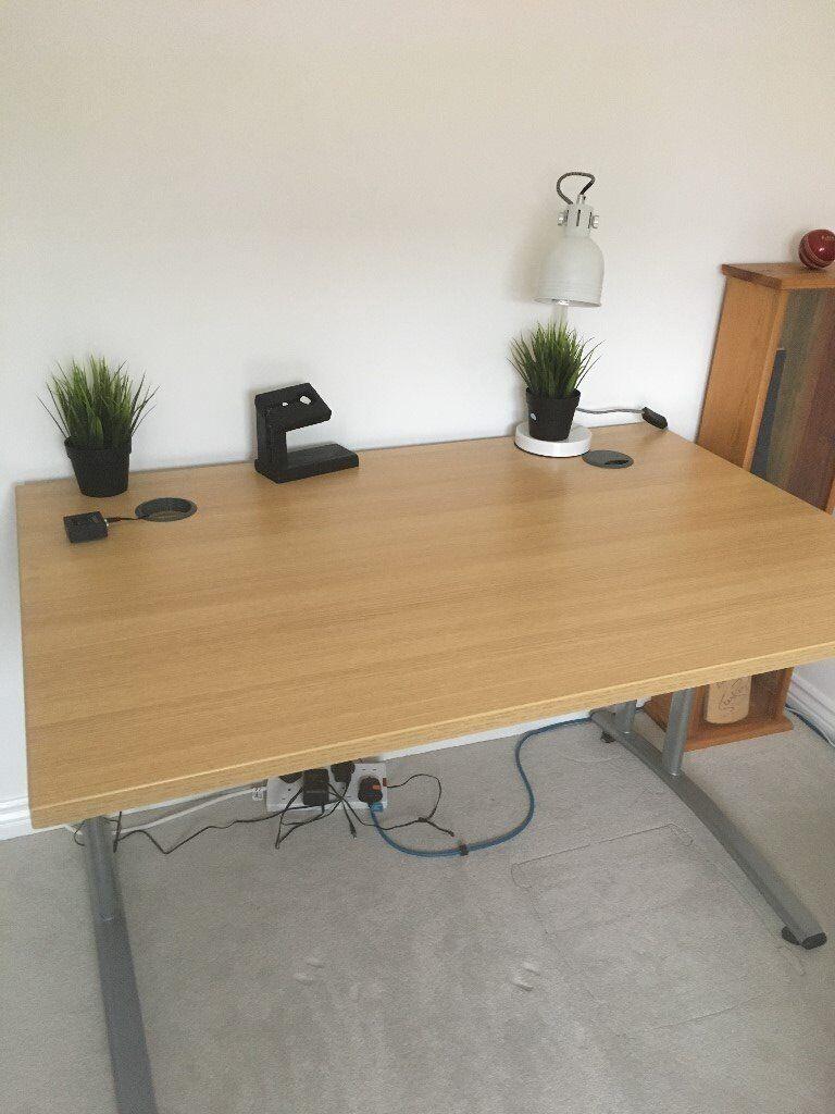 Study Desk Metal Legs Light Wood Top