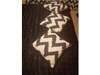 Chevron Printed Curtains, Cushion and Flatweave Runner perfect condition