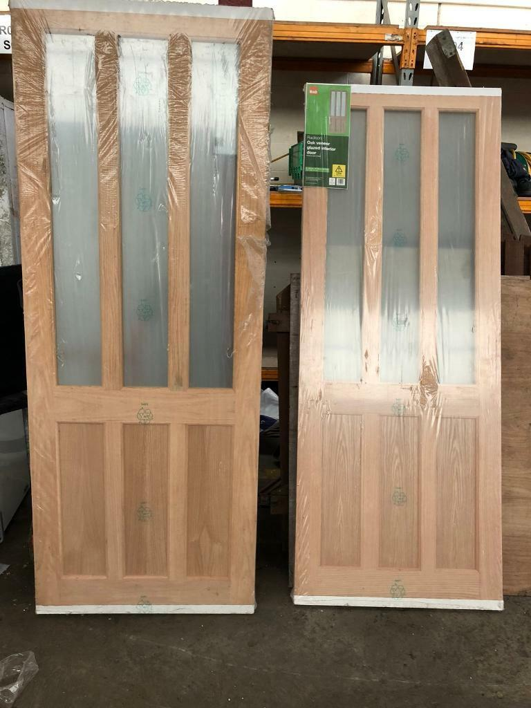 super popular 0e600 2aefc 2 New Oak Veneer Glazed Interior Doors B&Q | in Bishopbriggs, Glasgow |  Gumtree