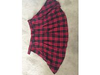 H&M red tartan mini skirt (Size 12)