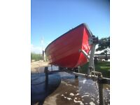 15 ft fibre glass boat with trailer new bearings and winch spare wheel