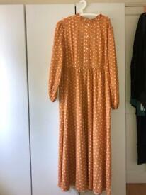 Orange polka dot maxi dress